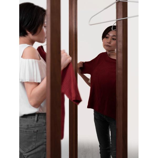 姿見鏡 おしゃれ ハンガーラック付き 1段タイプ 全身鏡 全身姿見鏡 ダークブラウン 180 大型 デザイン margherita 09