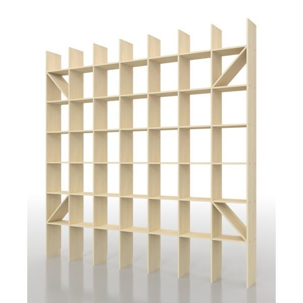 本棚 大容量 壁面 おしゃれ 壁面書棚 壁一面本棚 天井まで 縦7コマ×横7コマ 奥行き25cm|margherita|02