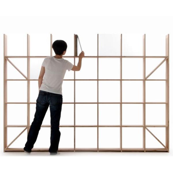 本棚 おしゃれ 家具 壁面収納 壁一面 大型本 美術書 梁下まで 書棚 オープンラック 横長タイプ|margherita|03