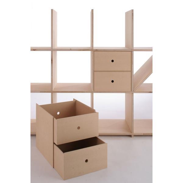 本棚 壁面書棚 壁一面本棚 A4書類収納引き出し 2段(奥行350本棚専用)|margherita|03