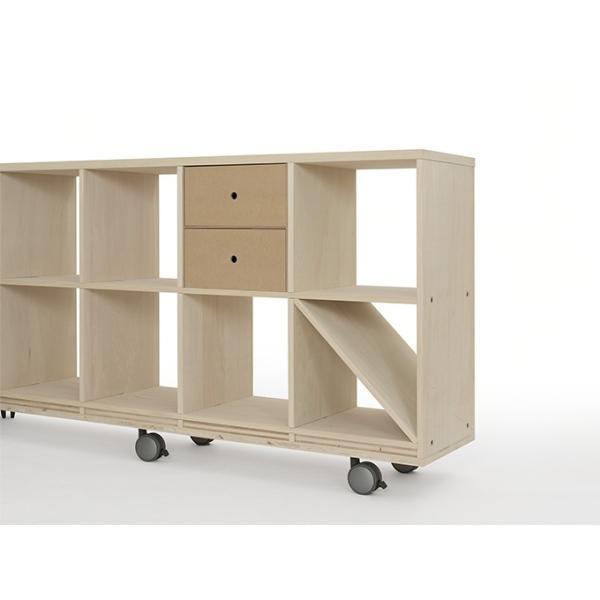 本棚 壁面書棚 壁一面本棚 A4書類収納引き出し 2段(奥行350本棚専用)|margherita|04