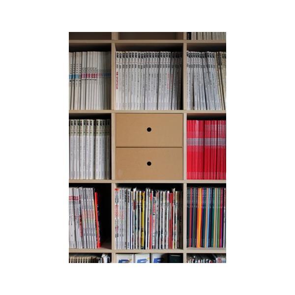 本棚 壁面書棚 壁一面本棚 A4書類収納引き出し 2段(奥行350本棚専用)|margherita|05