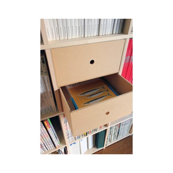 本棚 壁面書棚 壁一面本棚 A4書類収納引き出し 2段(奥行350本棚専用)|margherita|06