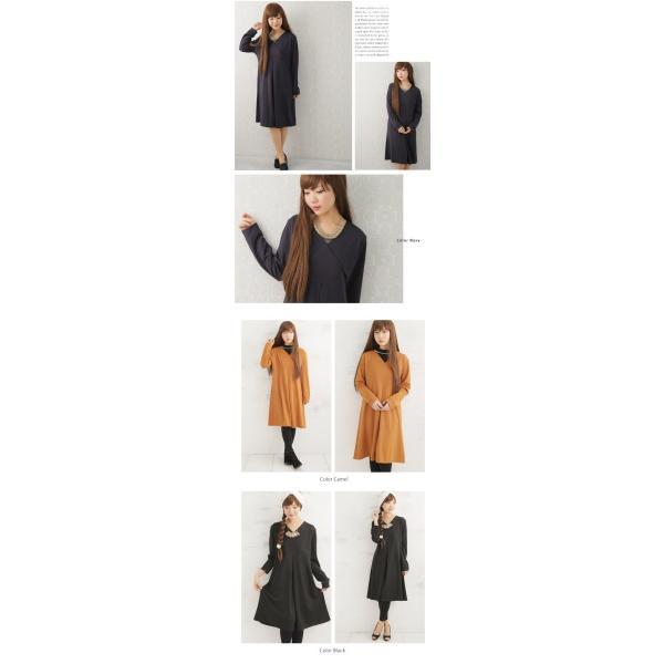 大きいサイズ レディース ワンピース 胸元カシュクール 長袖 ワンピース RIN オリジナル 春 ワンピース ワンピ 30代 40代 ファッション|marilyn|05