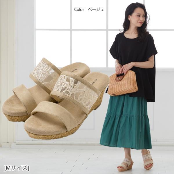 大きいサイズ レディース サンダル 4E 幅広 ウェッジソール フラワーレース ヒール約7cm 痛くなりにくい 夏服 30代 40代 50代 ファッション MA|marilyn|16
