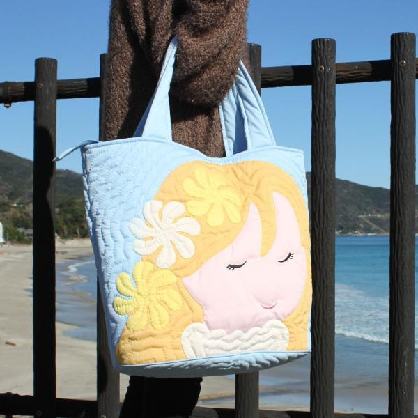 ハワイアンキルト バッグ アロハガールフラバッグ 大型 レディースバッグ スクエアートート パック ハワイアンキルト 生地 ハワイ 女の子
