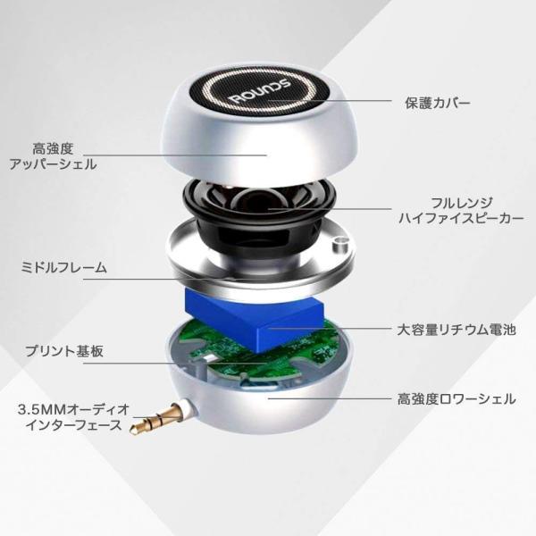 ROUNDS ポータブルスピーカー 日本人による企画・対応 ミニ スマホスピーカー USB充電 android iphone PC用 携帯用