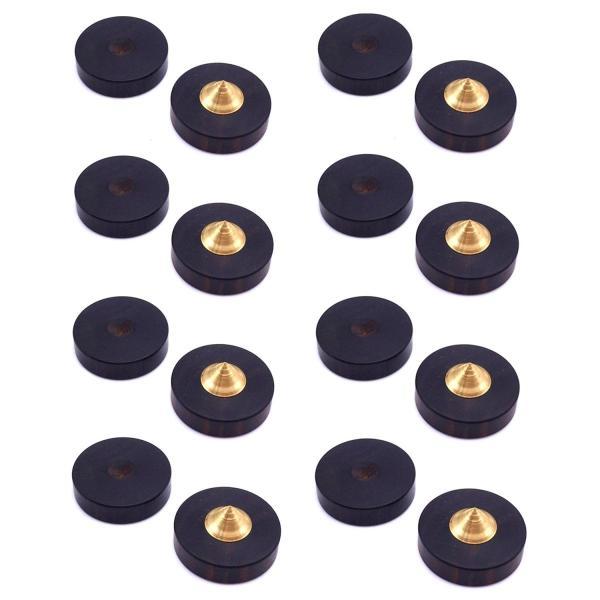 23mm 黒檀 製 スパイク インシュレータGeeSo付属のブチルゴムシート (8個セット, 黒檀&真鍮 1#)