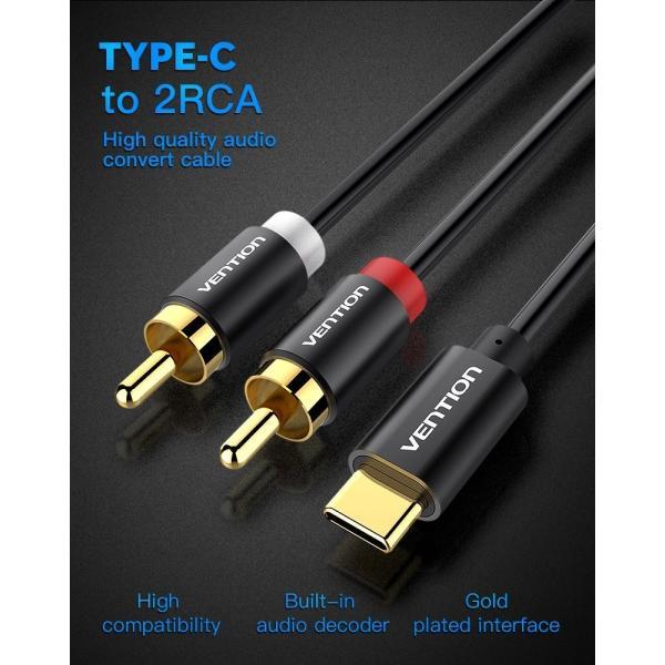 VENTION USBタイプCから2 RCAオーディオケーブルタイプ-C RCAケーブル2 RCAケーブルXiaomi LGのホームシアター