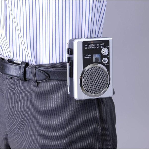 ラジオカセットレコーダー ミニラジカセ AM/FMラジオ 録音 再生 ワイドFM対応 簡単操作 イヤホン付き