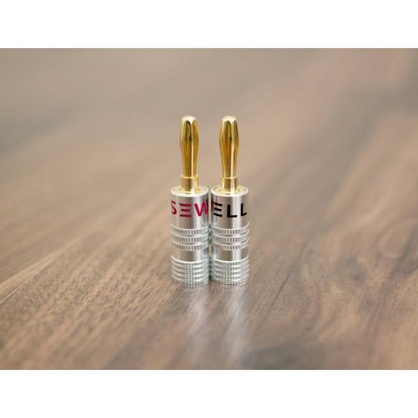 Sewell(シュウェル) Silverback ソルダーレス・バナナプラグ デュアル・ネジ締め方式 4ペア(8個) アウトレット品(簡易パ