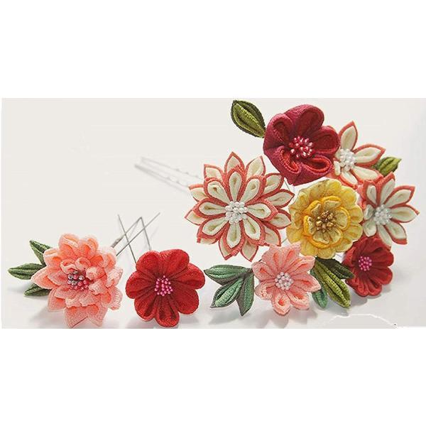 花みやび ハンドメイド つまみ細工 髪飾り 簪 赤 ピンク 黄色