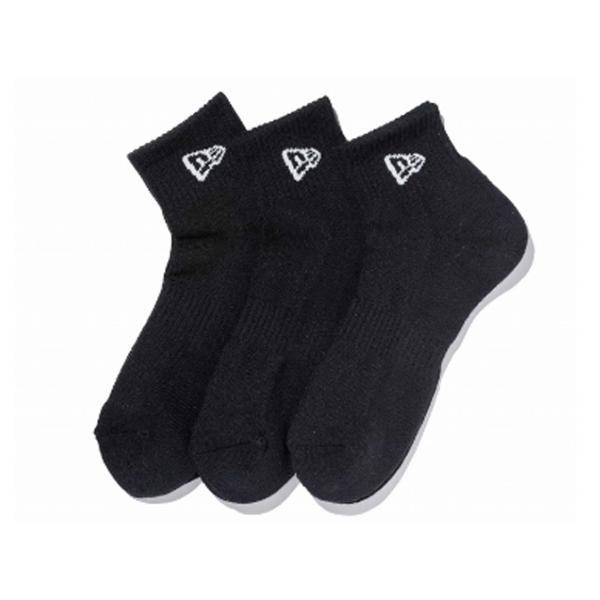ニューエラ NEW ERA メンズ&レディース ソックス アンクル 3ペア ブラック カジュアル 小物 靴下 ソックス|mario