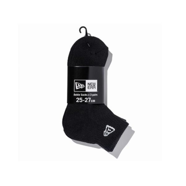 ニューエラ NEW ERA メンズ&レディース ソックス アンクル 3ペア ブラック カジュアル 小物 靴下 ソックス|mario|02