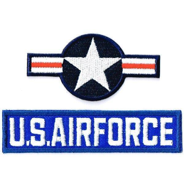 ミリタリーワッペン 米国籍標識ナショナルスター+USAFタブ 2Pセット markers-patch
