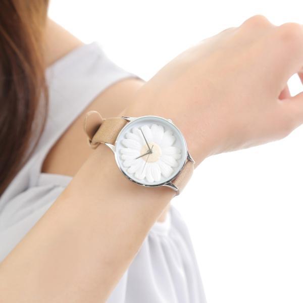 レディース ファッション デイジー 雛菊 腕時計 時計 カラー 本革 レザー ベルト ブラック ブラウン グレー ピンク markgraf 13