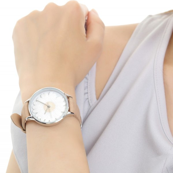 レディース ファッション デイジー 雛菊 腕時計 時計 カラー 本革 レザー ベルト ブラック ブラウン グレー ピンク markgraf 14
