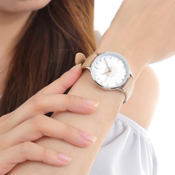 レディース ファッション デイジー 雛菊 腕時計 時計 カラー 本革 レザー ベルト ブラック ブラウン グレー ピンク markgraf 15