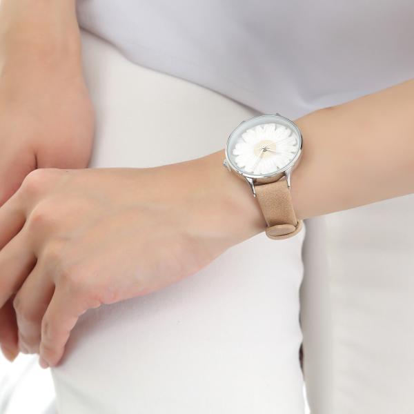 レディース ファッション デイジー 雛菊 腕時計 時計 カラー 本革 レザー ベルト ブラック ブラウン グレー ピンク markgraf 16
