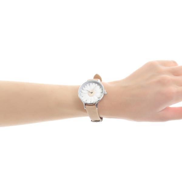 レディース ファッション デイジー 雛菊 腕時計 時計 カラー 本革 レザー ベルト ブラック ブラウン グレー ピンク markgraf 17