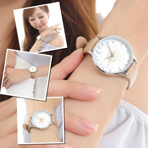 レディース ファッション デイジー 雛菊 腕時計 時計 カラー 本革 レザー ベルト ブラック ブラウン グレー ピンク markgraf 03