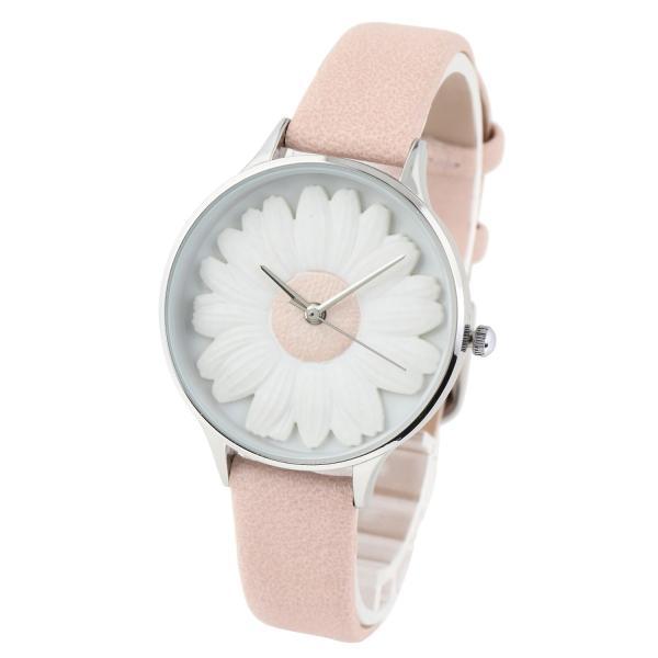 レディース ファッション デイジー 雛菊 腕時計 時計 カラー 本革 レザー ベルト ブラック ブラウン グレー ピンク markgraf 05