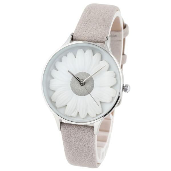 レディース ファッション デイジー 雛菊 腕時計 時計 カラー 本革 レザー ベルト ブラック ブラウン グレー ピンク markgraf 06