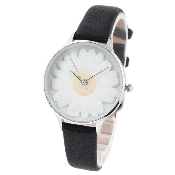 レディース ファッション デイジー 雛菊 腕時計 時計 カラー 本革 レザー ベルト ブラック ブラウン グレー ピンク markgraf 07