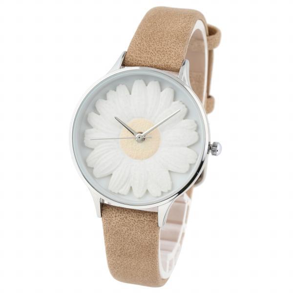 レディース ファッション デイジー 雛菊 腕時計 時計 カラー 本革 レザー ベルト ブラック ブラウン グレー ピンク markgraf 08