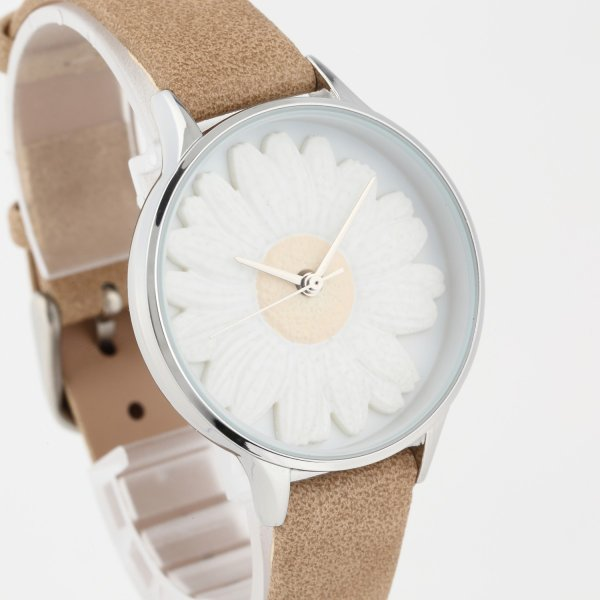 レディース ファッション デイジー 雛菊 腕時計 時計 カラー 本革 レザー ベルト ブラック ブラウン グレー ピンク markgraf 09