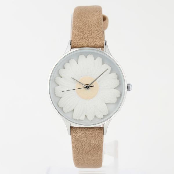 レディース ファッション デイジー 雛菊 腕時計 時計 カラー 本革 レザー ベルト ブラック ブラウン グレー ピンク markgraf 10