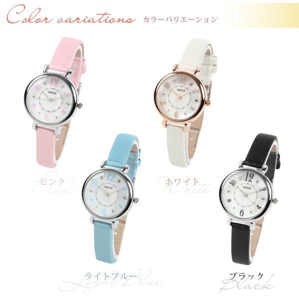 レディース ファッション 腕時計 一般防水 時計 カラー PUベルト ブラック ライトブルー ピンク ホワイト markgraf 02