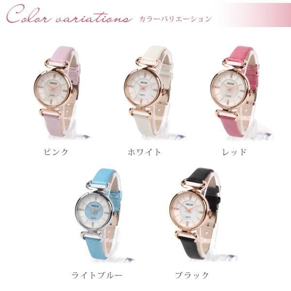 レディース ファッション 腕時計 時計 カラー 防水PUベルト ブラック ライトブルー ピンク レッド ホワイト|markgraf|02