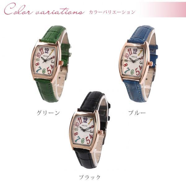 レディース ファッション 一般防水 腕時計 時計 カラー 本革ベルト ブラック グリーン ブルー|markgraf|02