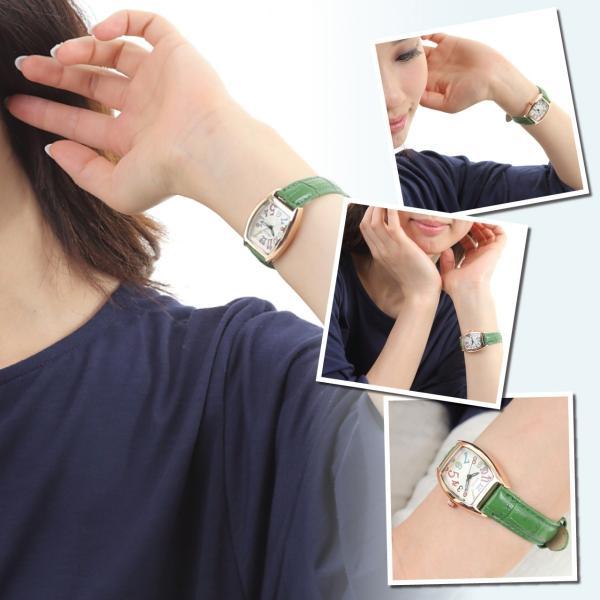 レディース ファッション 一般防水 腕時計 時計 カラー 本革ベルト ブラック グリーン ブルー|markgraf|03