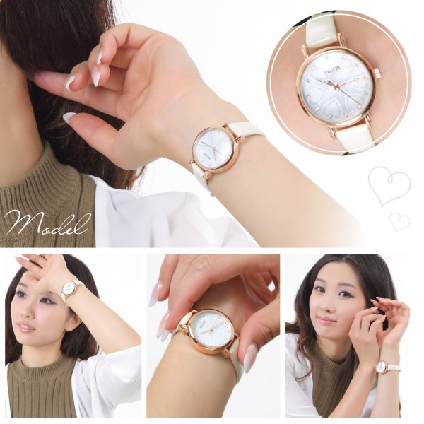レディース ファッション 腕時計 時計 カラー 防水PUベルト ホワイト ピンク レッド パープル ブラック|markgraf|03