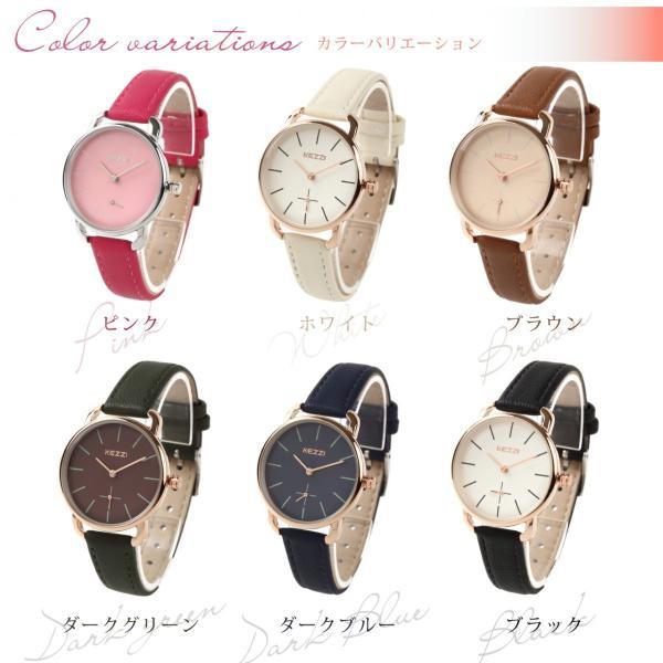 レディース ファッション 腕時計 時計 カラー 防水PUベルト ブラック ピンク ホワイト ブラウン ダークグリーン ダークブルー|markgraf|02