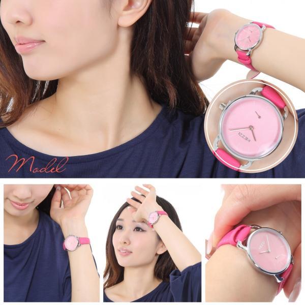 レディース ファッション 腕時計 時計 カラー 防水PUベルト ブラック ピンク ホワイト ブラウン ダークグリーン ダークブルー|markgraf|03