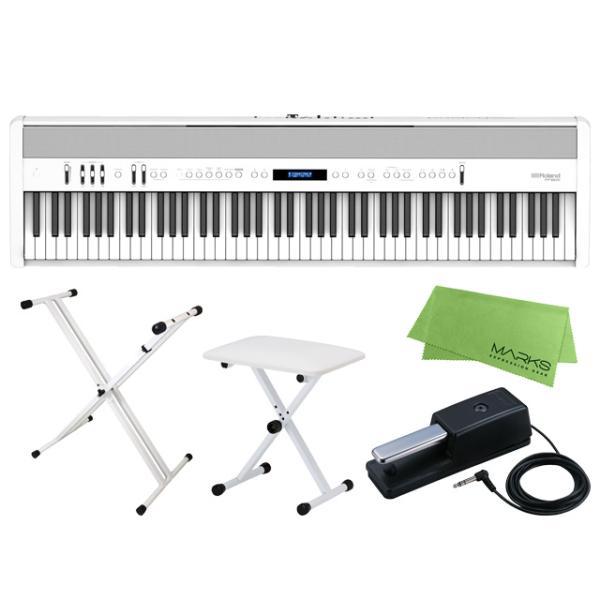 Roland FP-60X-WH + キーボードスタンド + チェア + マークスミュージック オリジナルクロス セット デジタルピアノ