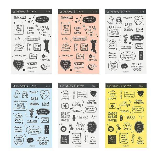レタリング・ステッカー シール ライフログ アルファベット シンプル フレーズ 韓国 文具 おしゃれ かわいい PAPERIAN ぺーパーリアン