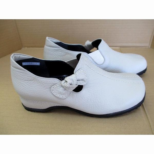 サンマリノ Sanmarino 3813 レディース パンプス 天然皮革 コンフォートスリップオン リボン 幅広 外反母趾 通勤靴 仕事靴 アイボリー