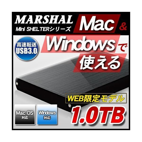 外付け HDD ハードディスク 1TB Windows10対応 TV録画 REGZA MAC専用 ポータブル ブラック marshal