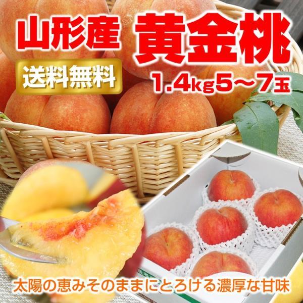 ギフト 黄金桃 送料無料 お試し 山形県産 1.4kg (5-7玉) 黄桃 モモ もも