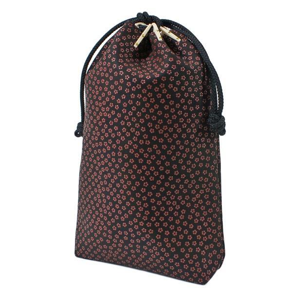 印伝 甲州印伝 印傳屋 合切袋 巾着 3005 小桜 黒地×赤漆 マチ付き 女性用 レディース 和柄 YM02 marusima