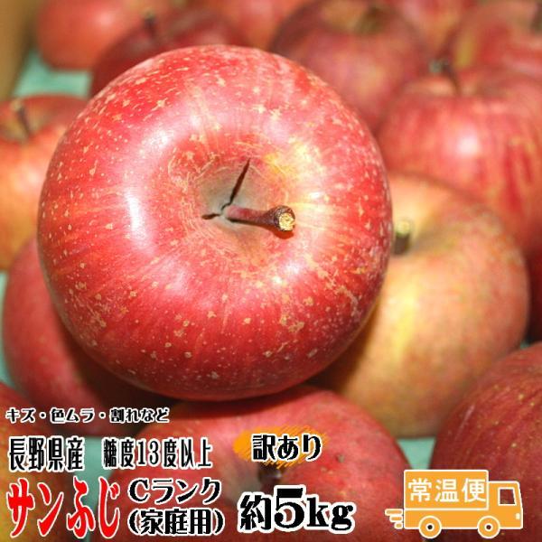 フルーツ りんご サンふじ Cランク 家庭用 約5kg 訳あり 12玉〜18玉 長野県産 リンゴ CA貯蔵  糖度13度以上 送料無料  [クール便]|marutomi-s
