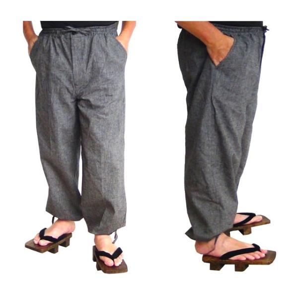 作務衣 パンツ 1903 ズボン  送料無料  丈夫で着やすい「本紬織り」 ルームウェア さむえ 男性用 紳士 メンズ M L LL おしゃれ 替えズボン もんぺ|marutoyo0122|02