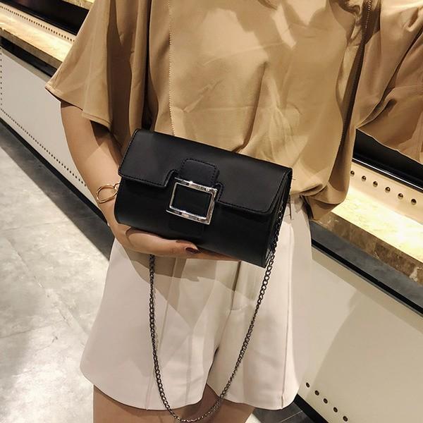 チェーンバッグ 2way クラッチバッグ 合成皮革 ミニポシェット ハンドバッグ