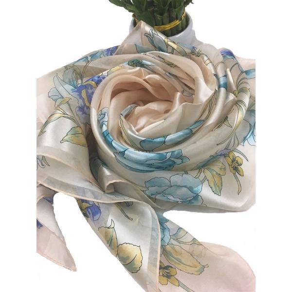 シルクスカーフ日本製 9065 横浜シルクスカーフ 四方形スカーフ レディーススカーフ 母の日 プレゼント用 ギフト包装 欧米デザイン 3色あり|maruyama-trade|02