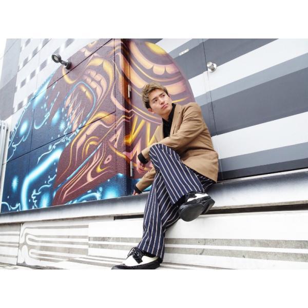 ナンバーモデル(EZ PANTS) 型番EZ001-0001 ネイビーxWhite&Brown トラッドストライプ ダンス衣装 140cm/XS/S/M/L 男女兼用 紺 イージーパンツ