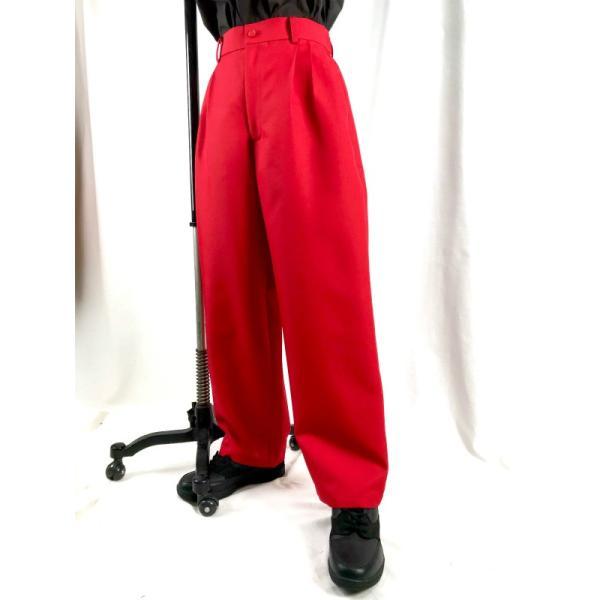 EZ-PANTS/型番EZ001-P0003 赤 XS/S/M/L ダンス衣装 男女兼用 日本製 イージーパンツ スラックス カラーパンツ